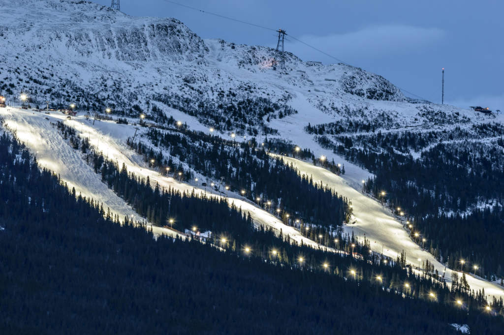 Ski slope in Are (Åre), Sweden at dusk